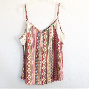 Happening in the Present Boho Tribal Tank Top Lg